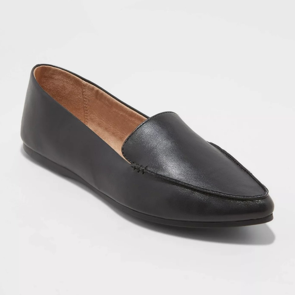 Black loafer with pointed toe