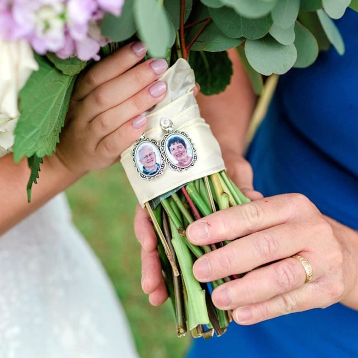 tiny framed photos of grandparents on bouquet