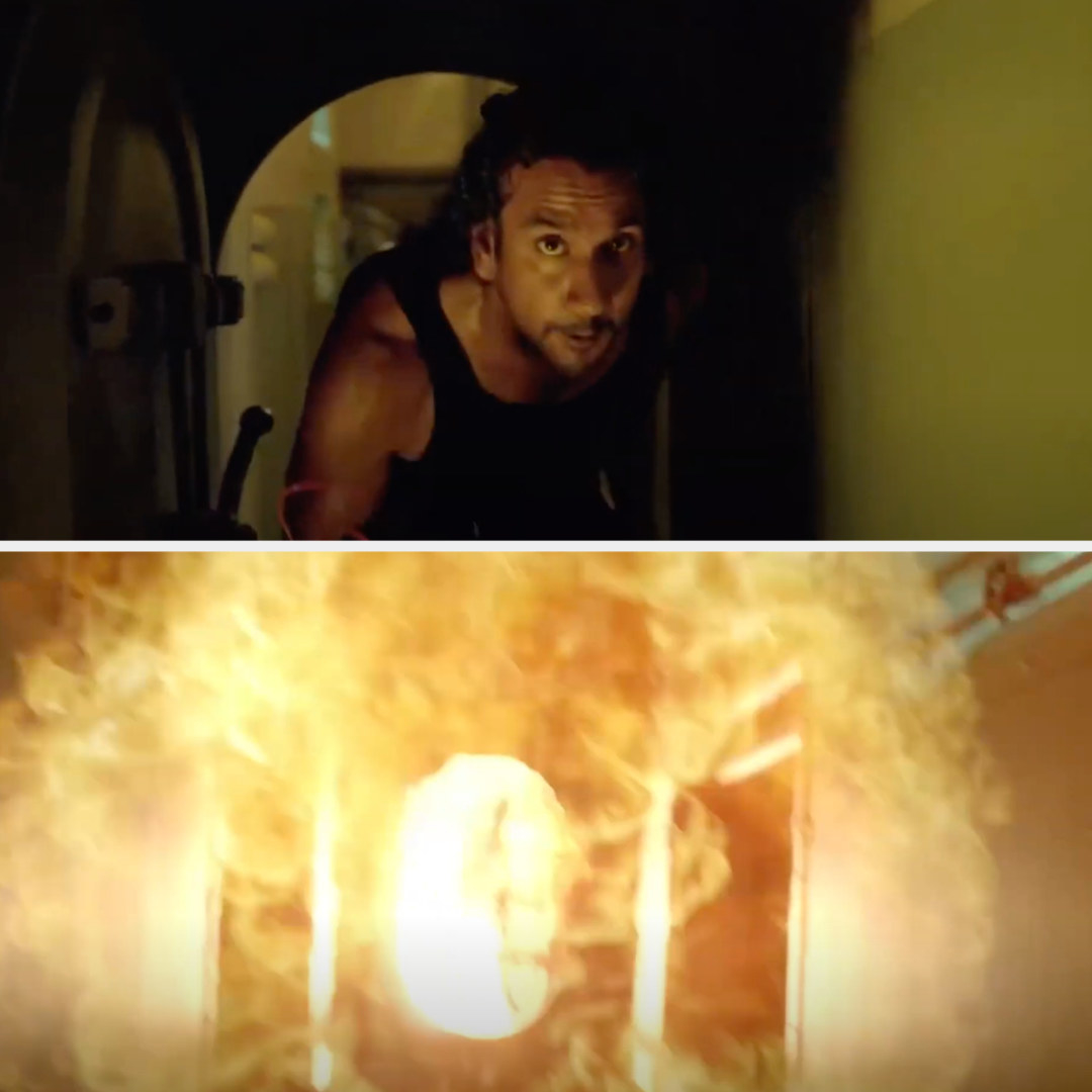 Sayid running with the bomb then it explodes
