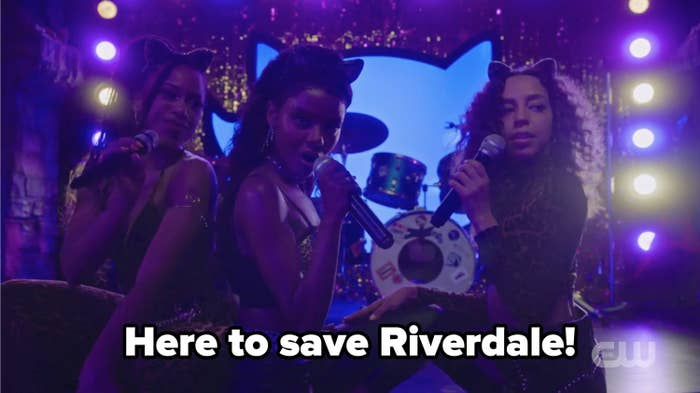 Pussycats with the caption here to save riverdale