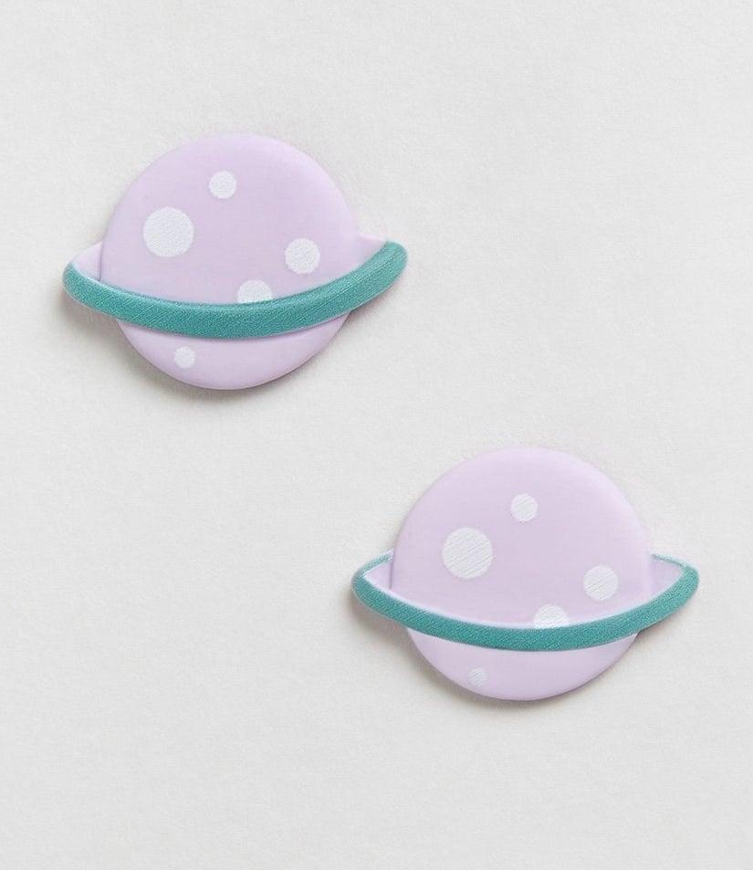 purple and teal saturn shaped earrings