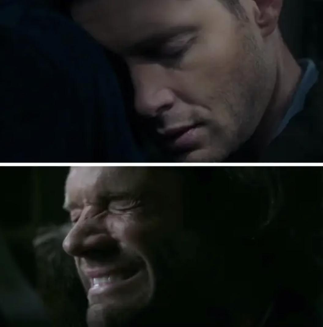 Sam cries as Dean dies