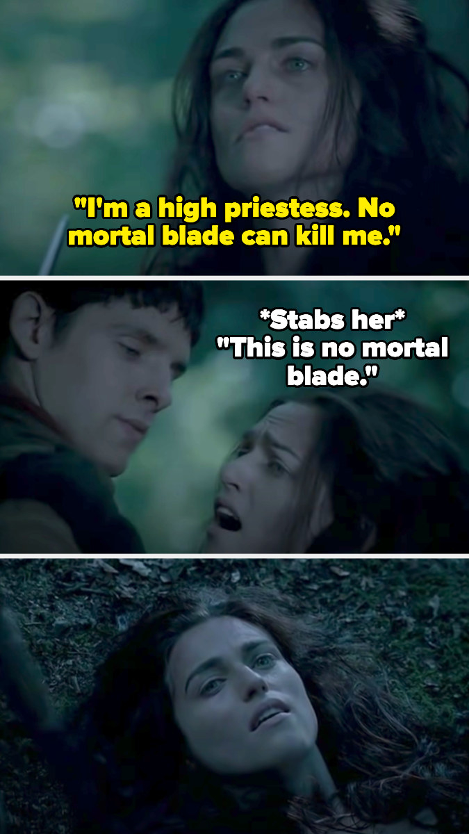 Morgana says no mortal blade can kill her, but then Melin kills her with Excalibur