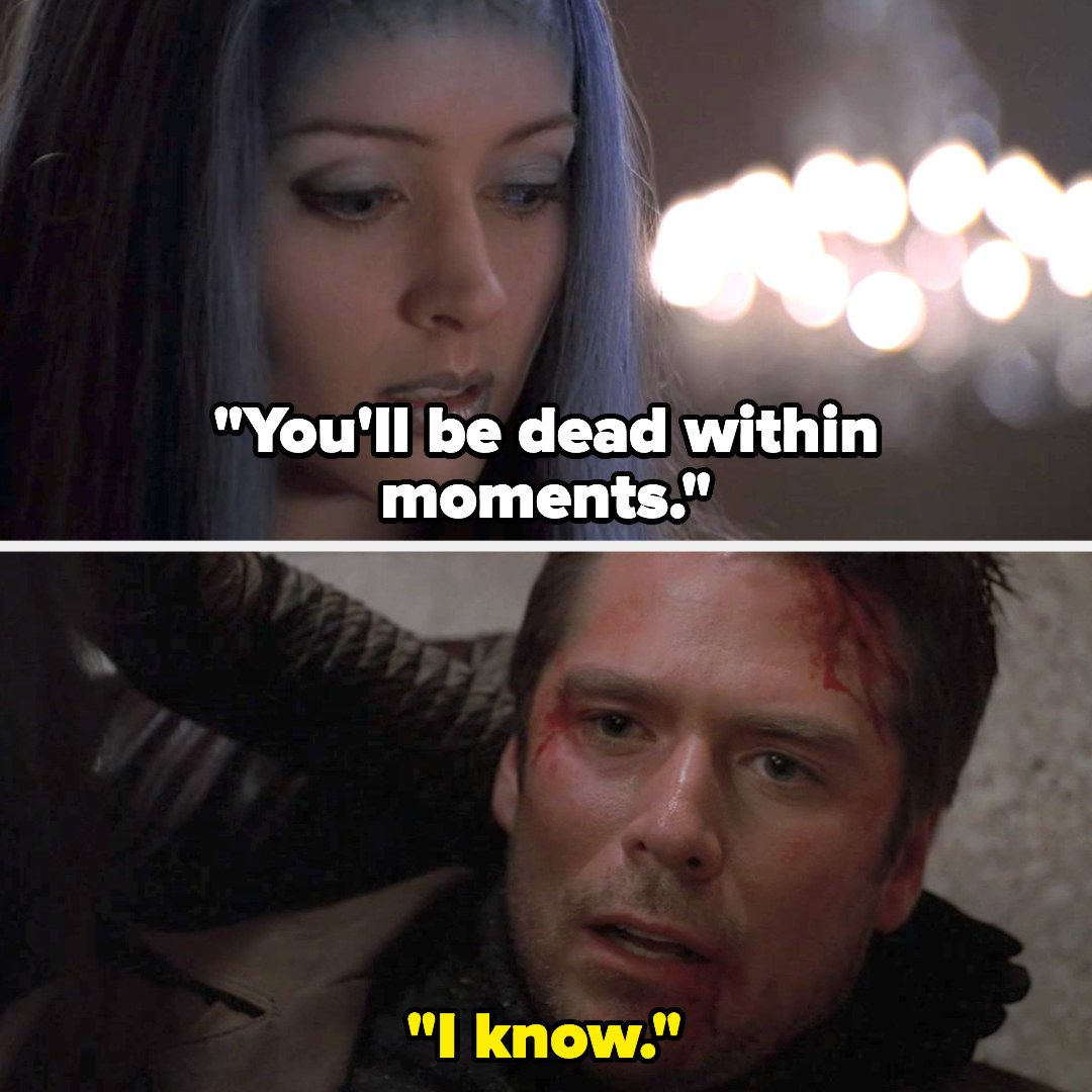 Illyria says Wes is moments from death, and he says he knows