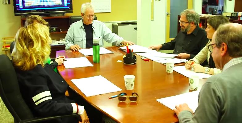 """Alex Trebek sitting down with writers of """"Jeopardy"""""""