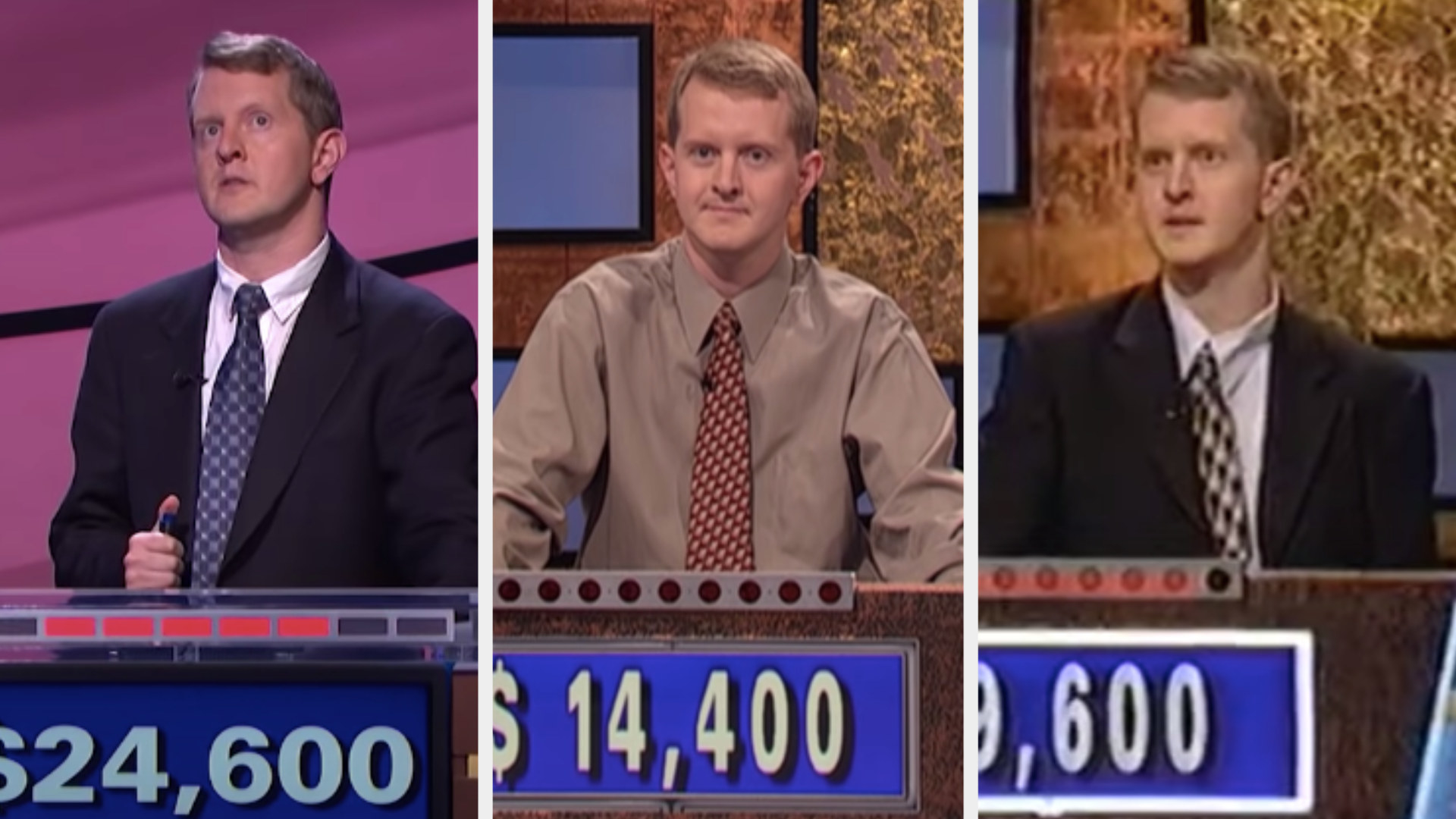 """Ken Jennings in three different outfits on """"Jeopardy"""""""