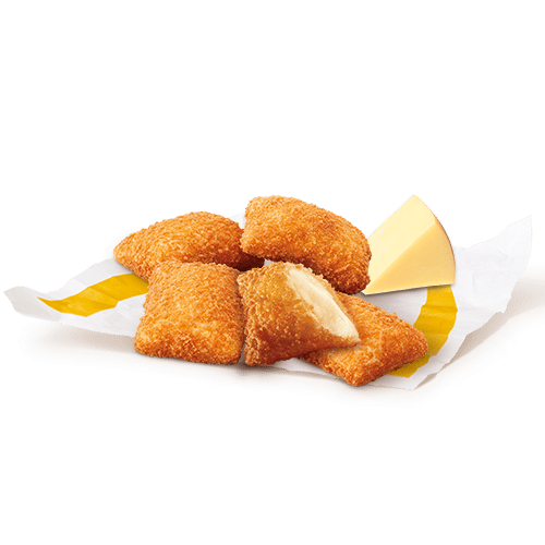 fried squares of breaded gouda cheese