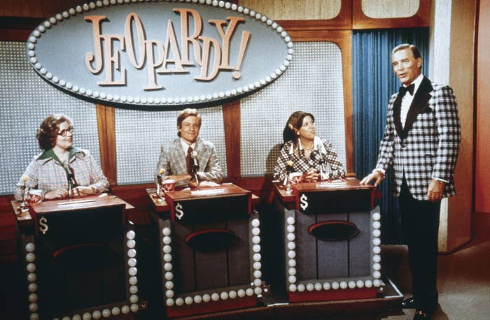 Vintage Jeopardy contestants with Art Fleming
