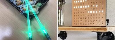 A split thumbnail of light up chopsticks and a light up word clock board