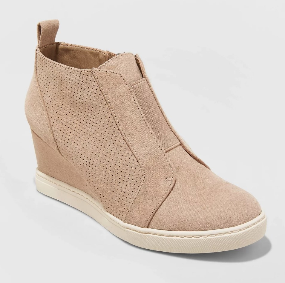 Tan faux suede wedge