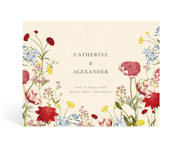 floral book that says catherine and alexander