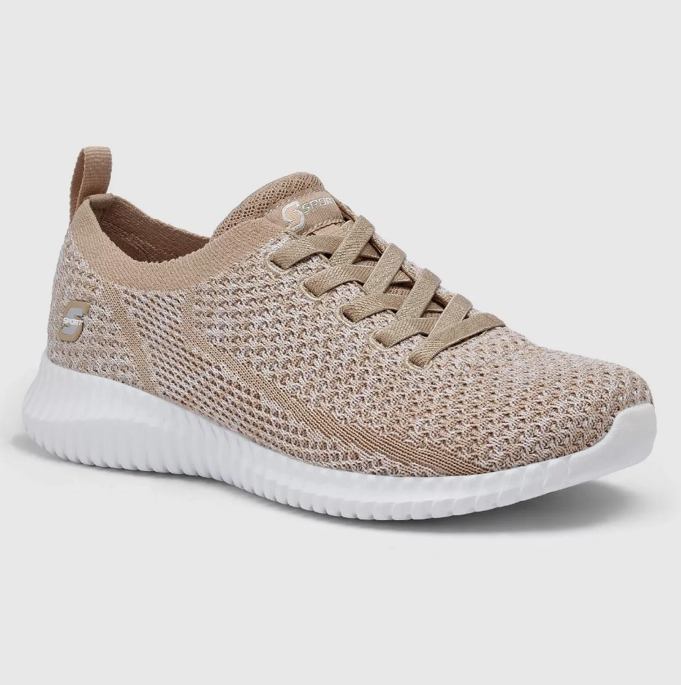 Taupe knit sneakers with white sole