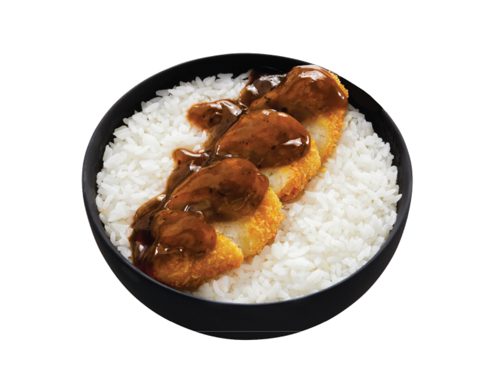 Fried fish cut into slices on top of white rice and covered in honey garlic sauce