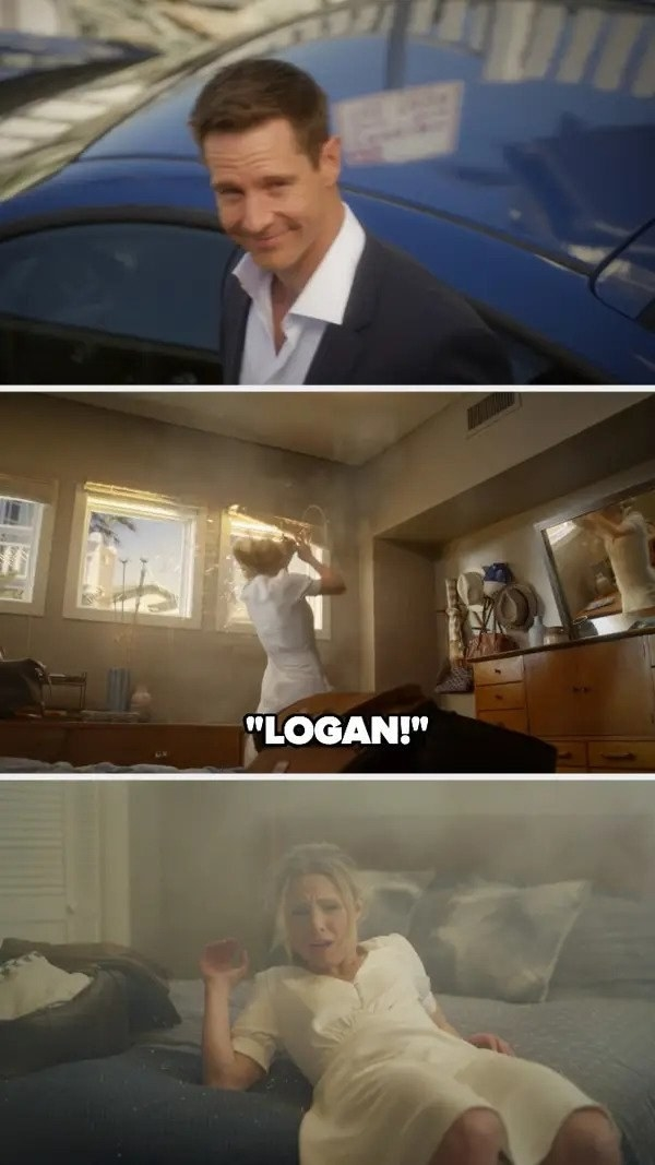 Logan smiles at Veronica and gets in the car, then Veronica is thrown from the window by an explosion