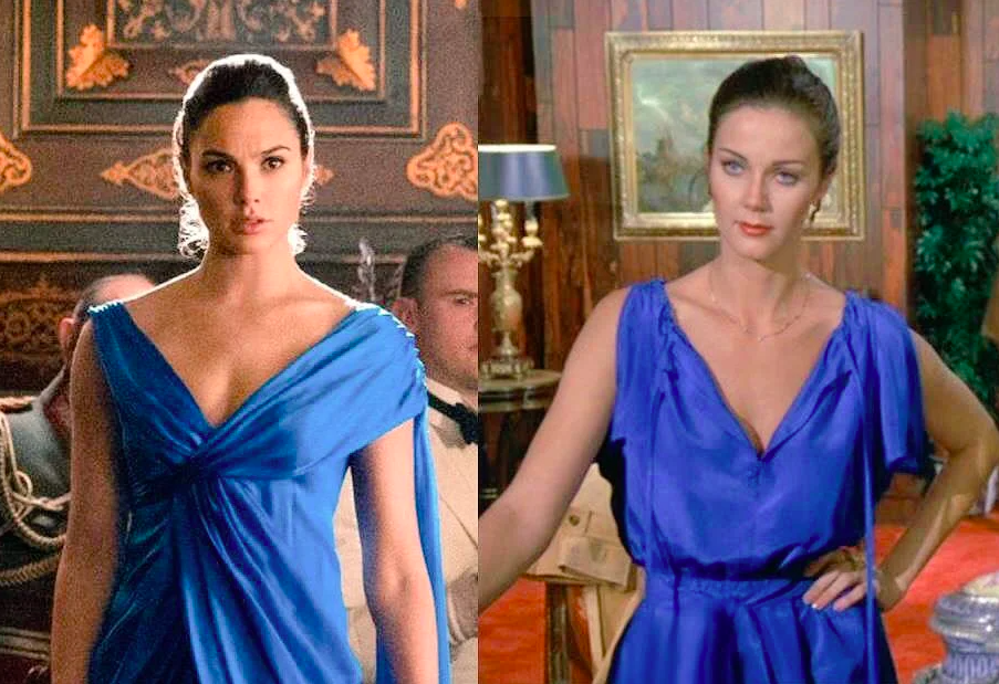 The two Wonder Womans wearing a similar dress