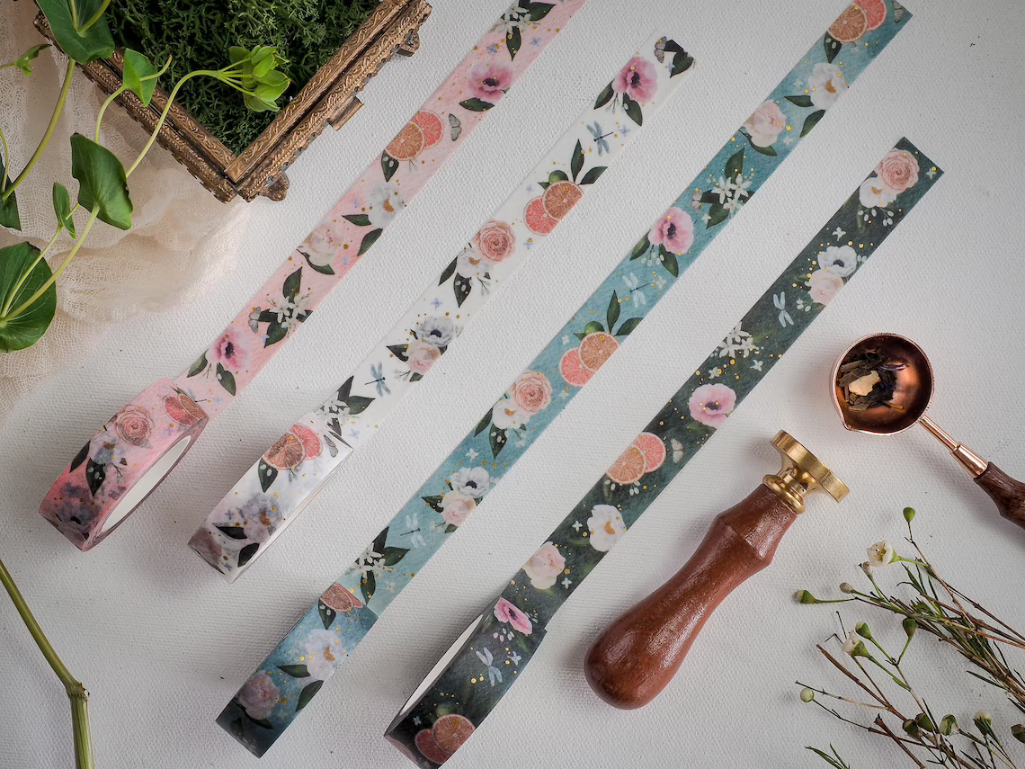 floral and citrus patterned tapes