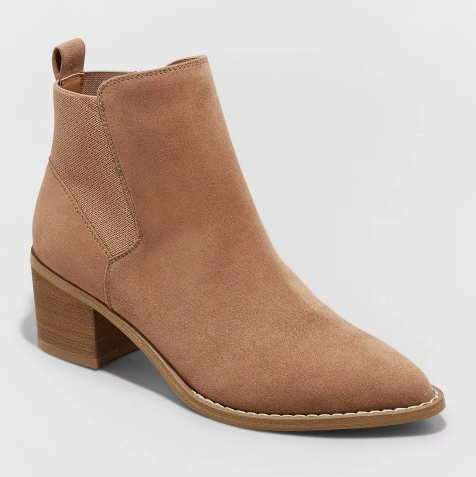 Tan faux suede ankle boots with brown block heel