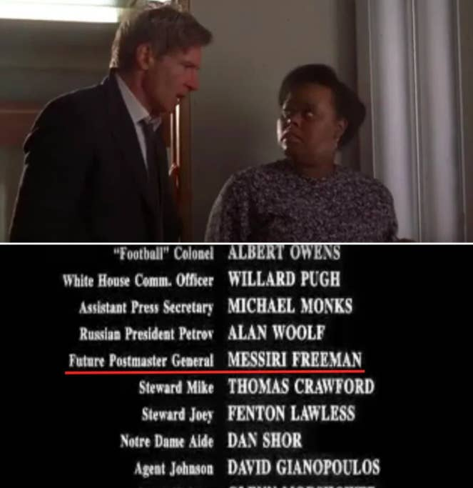 The President talking to a staff member, then the actor being credited as Future Postmaster General
