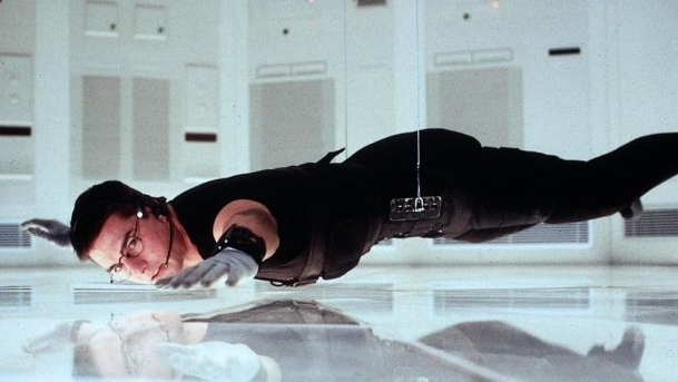Tom Cruise hovering directly above the ground