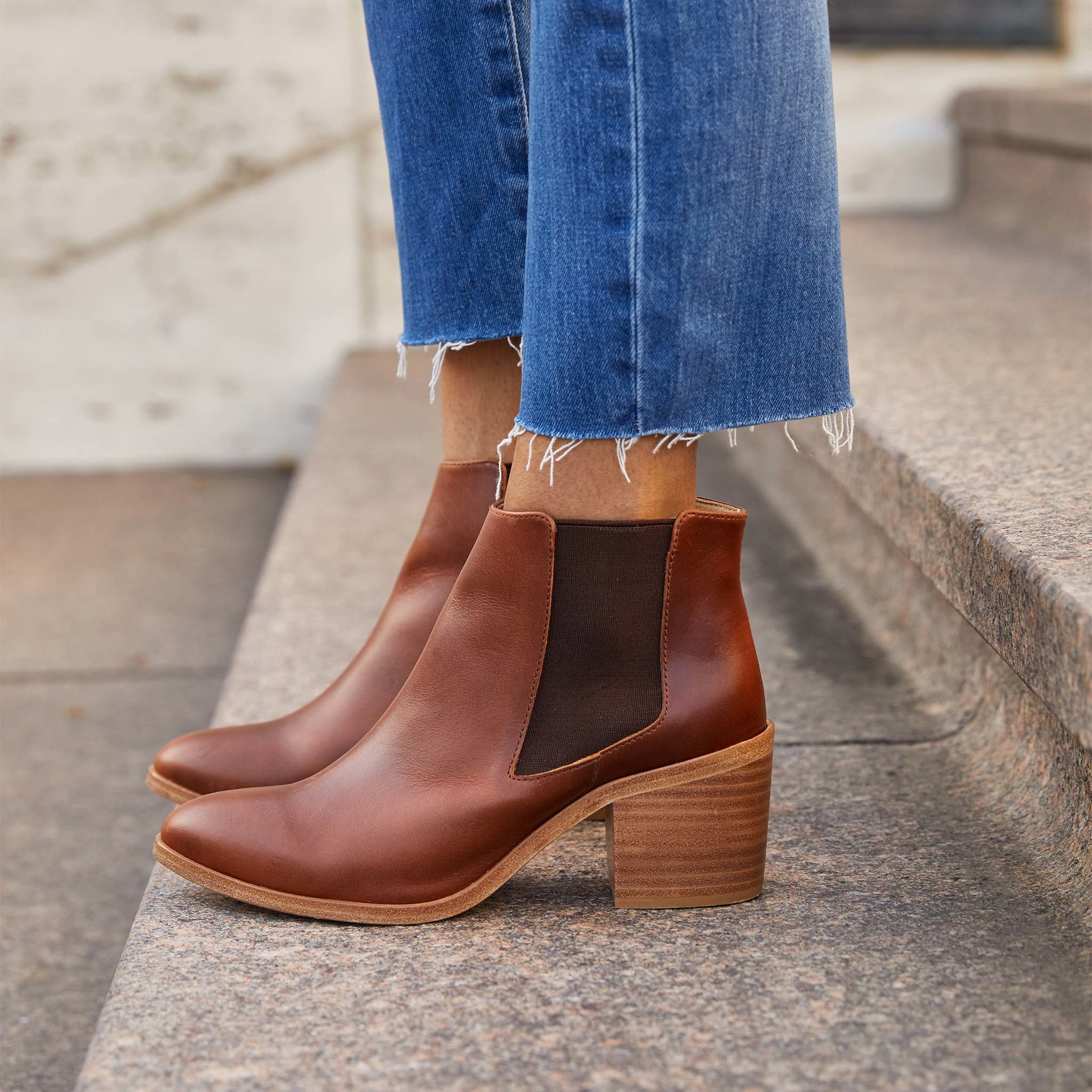 the brandy colored boots with a mid heel