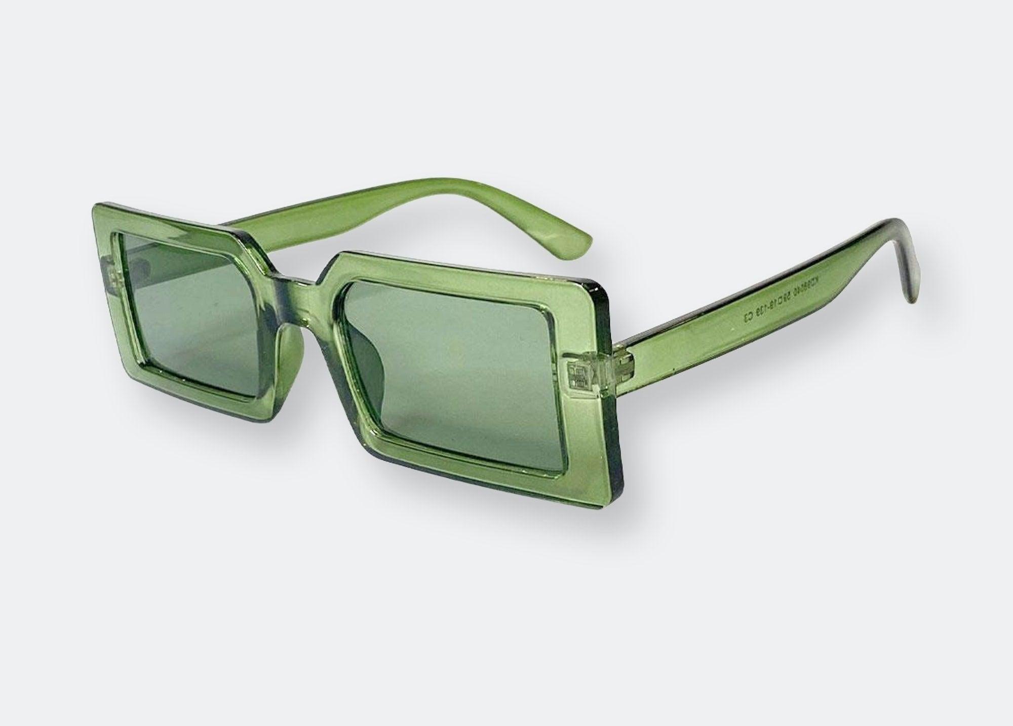 a pair of green rectangular sunglasses