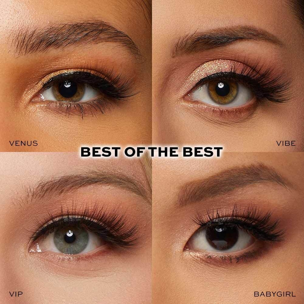 The four sets of lashes in different lengths and densities