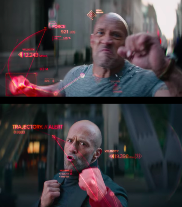 What the display says when Hobbs attacks, and what the display says when Shaw attacks