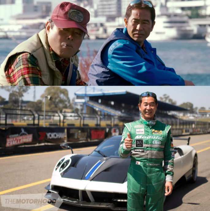 Tsuchiya in Tokyo Drift and in real life smiling with a thumbs up on a race track