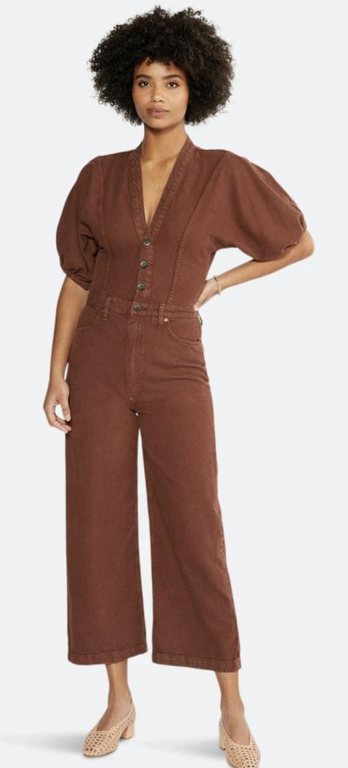 model wearing the jumpsuit in rust