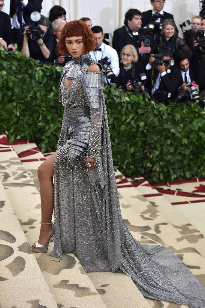 Zendaya attends the Heavenly Bodies: Fashion & The Catholic Imagination Costume Institute Gala in a knight's armor-inspired dress
