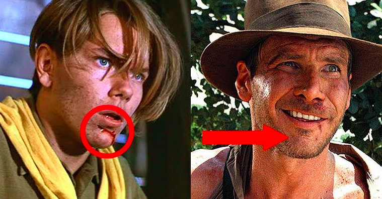 Young Indiana Jones with a new, bleeding mark on his chin, and older Indiana Jones with a full scar
