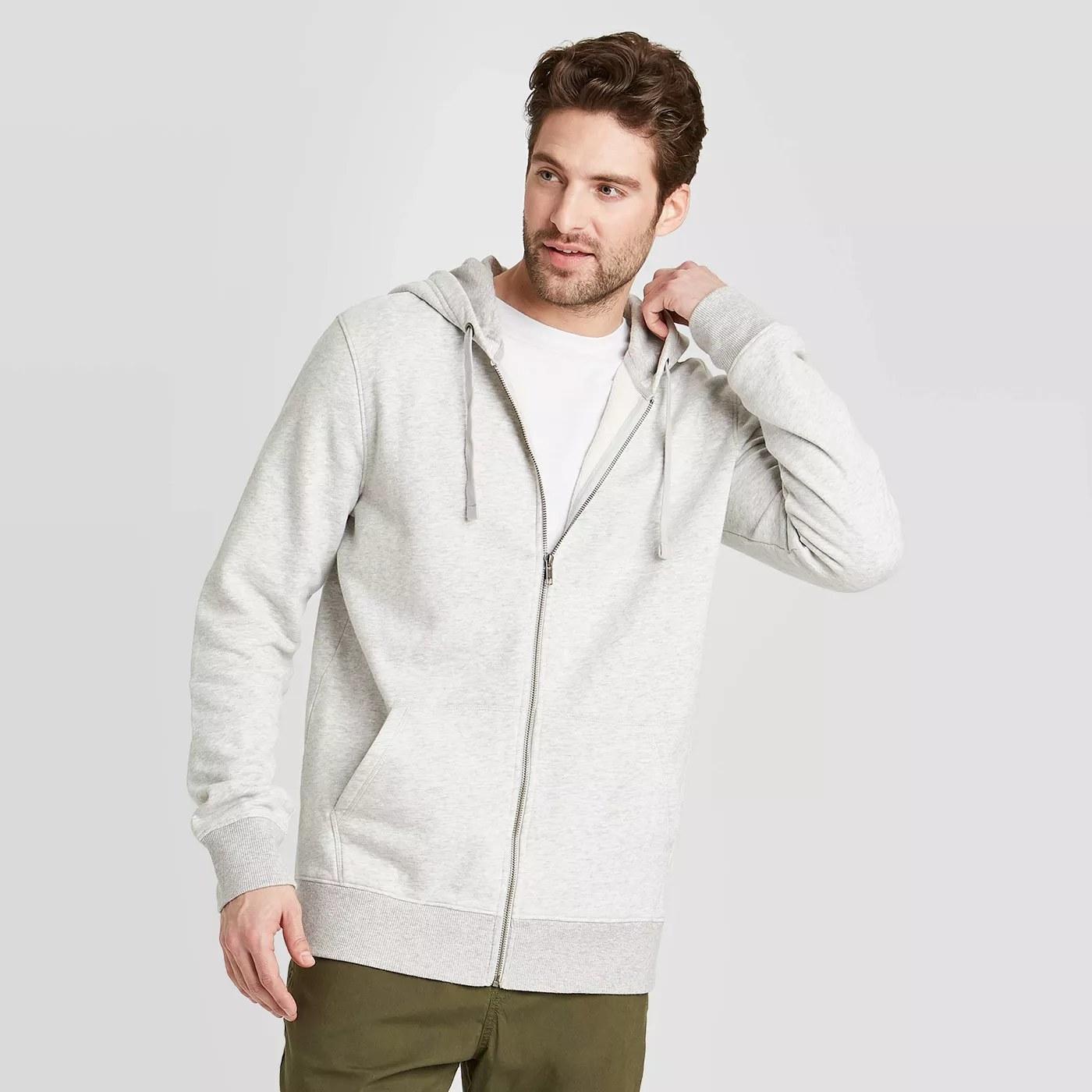 A grey hoodie
