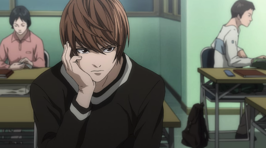 Light from Death Note; he is sitting down and thinking while at cram school