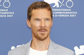 Benedict wear a white tee and grey suit jacket