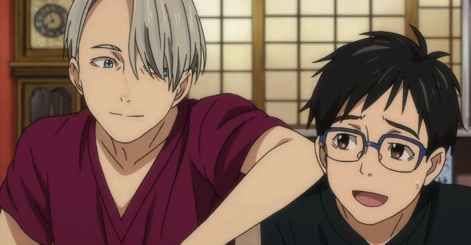 Yuri and Victor from the anime Yuri On Ice looking at each other happily
