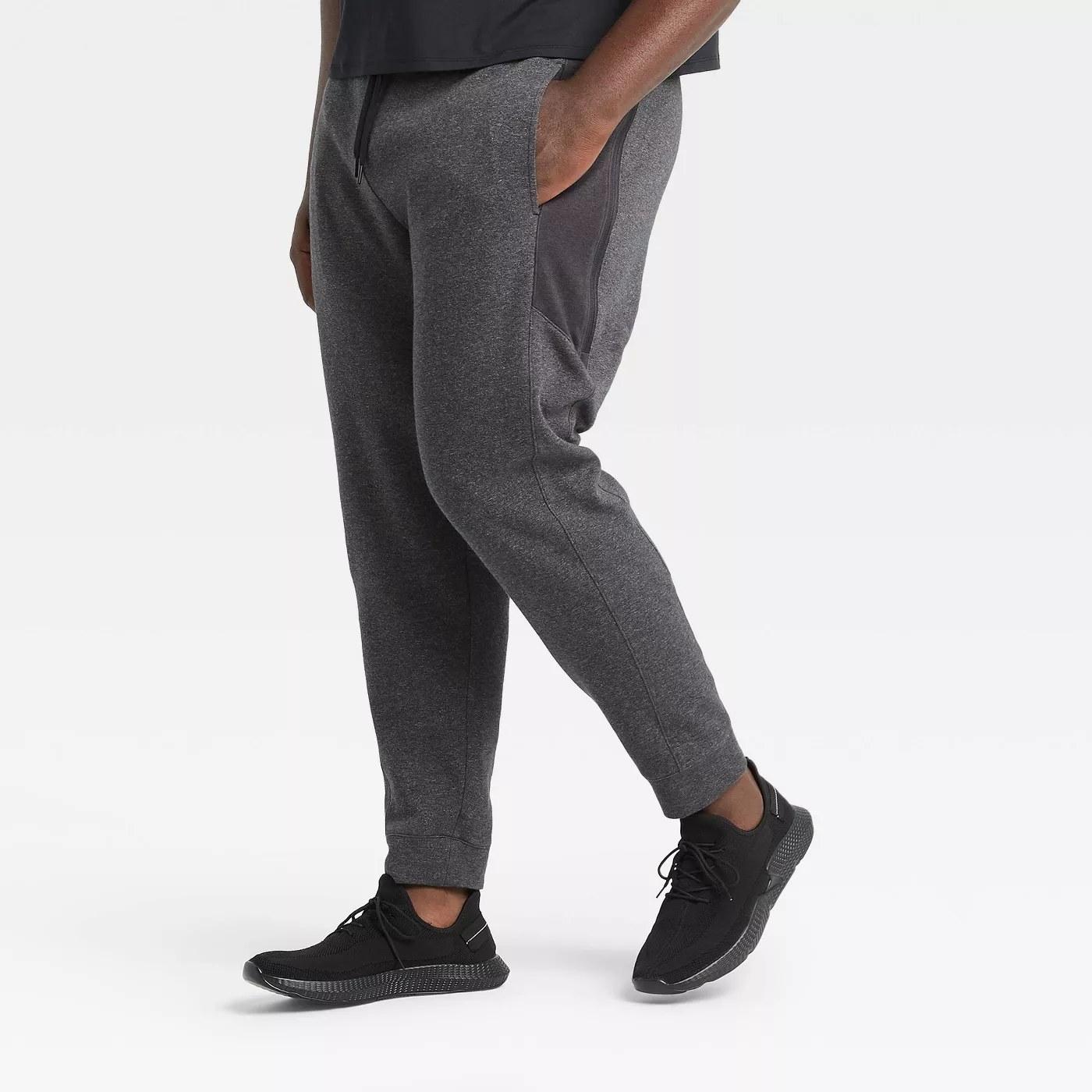 Grey fleece jogger pants