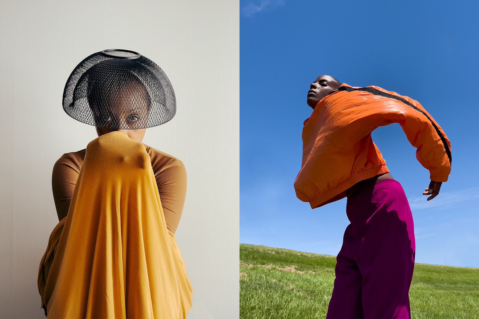 Person with a mesh head covering and bright garment partially covering their face; person with bright-colored pants and top in a field