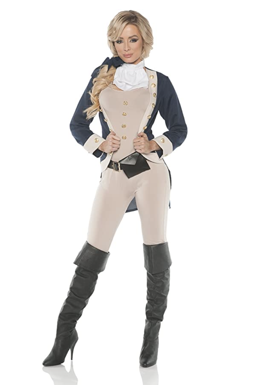 A skin-tight take on a traditional founding fathers' look, complete with sweetheart neckline and thigh-high boots
