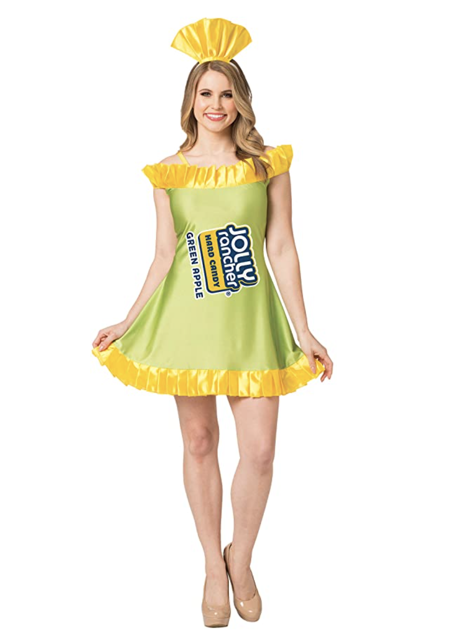 """A ruffled dress that says """"Jolly Rancher"""""""