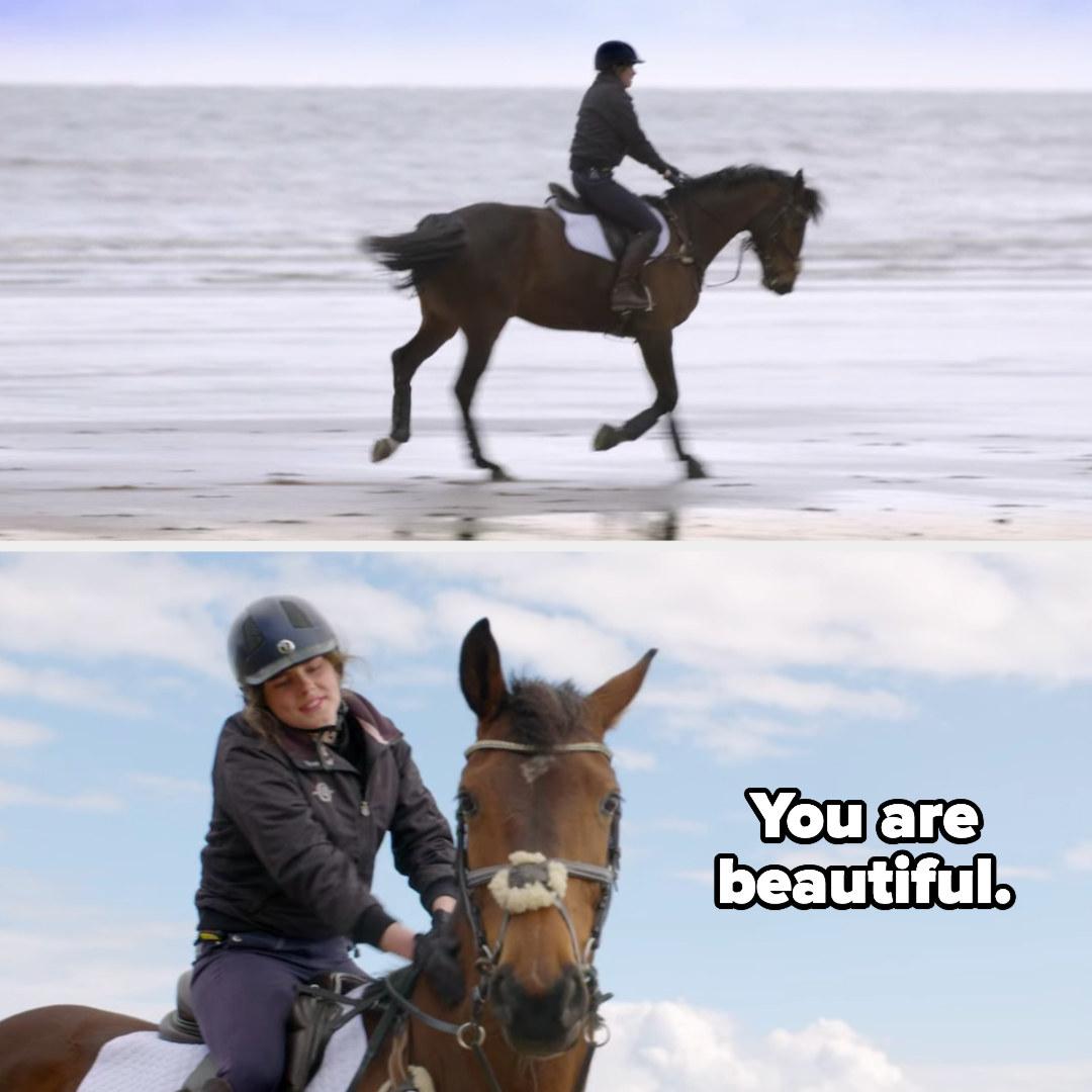 Freya rides Winnie, then tells her she's beautiful