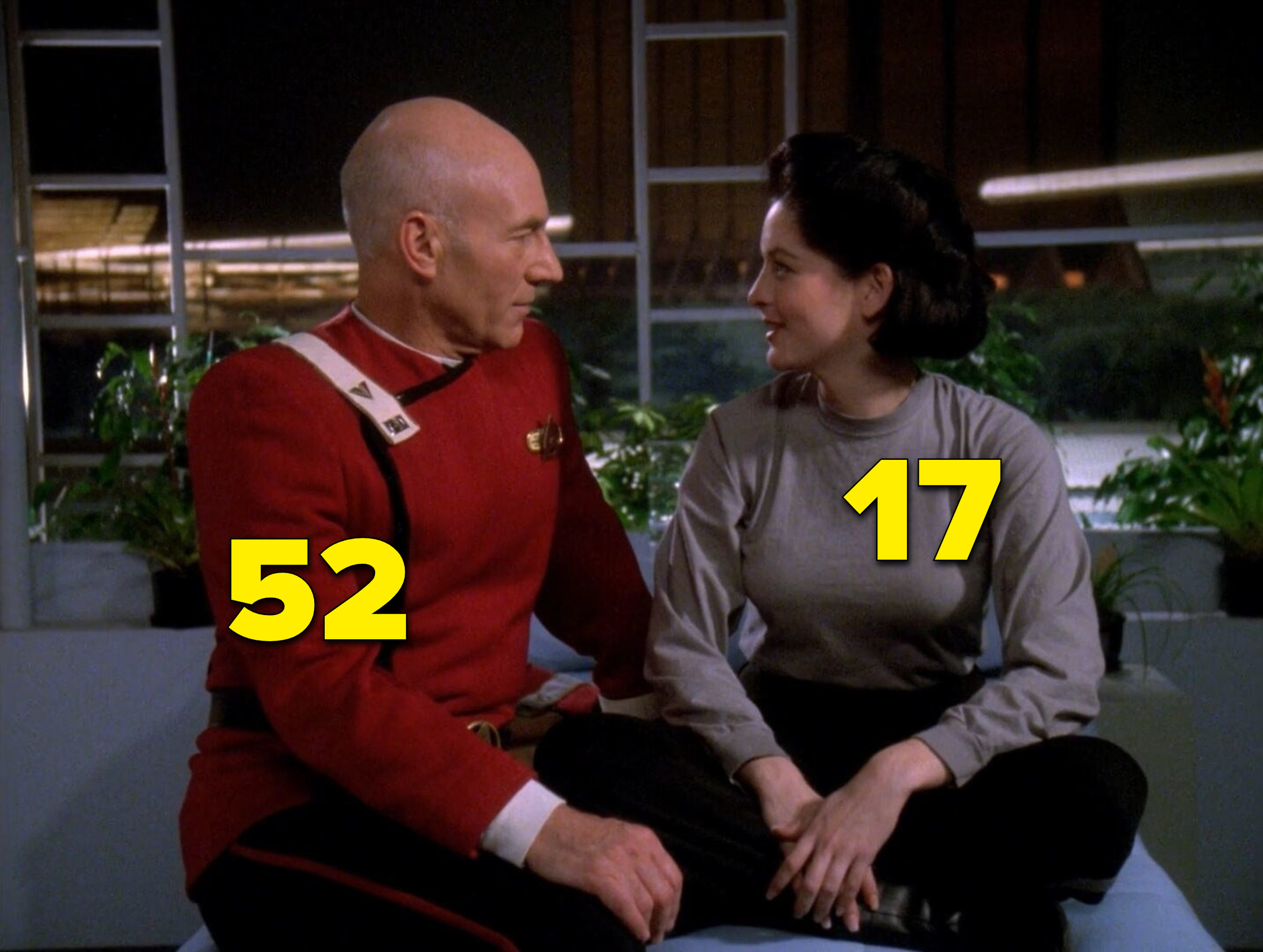 """Patrick Stewart and J.C. Brandy looking at each other romantically in """"Star Trek"""""""