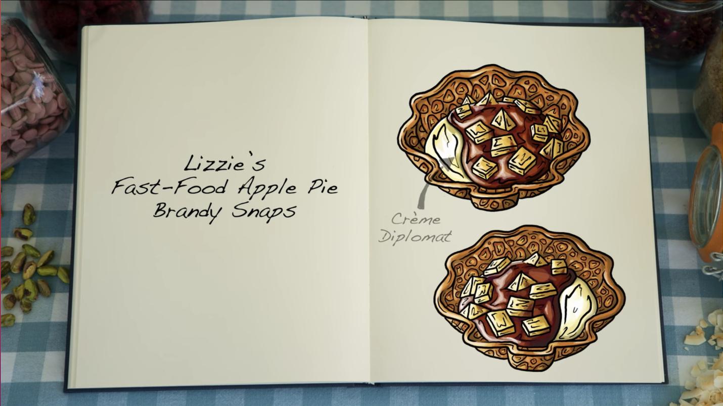 A sketch of Lizzie's fast food apple pie brandy snaps