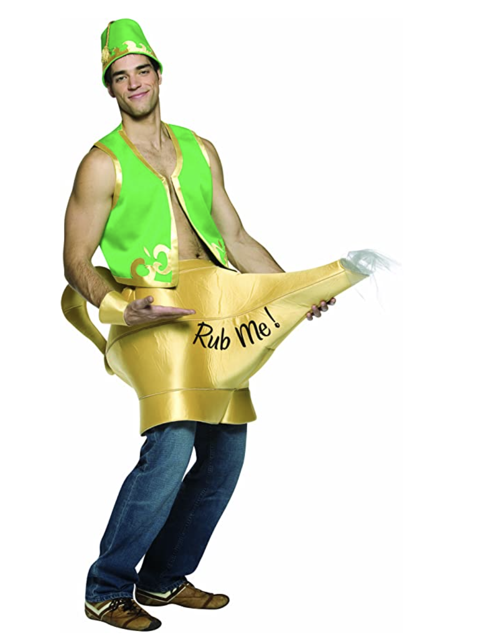 "A man wearing a genie lamp around his waist that says ""rub me!"""