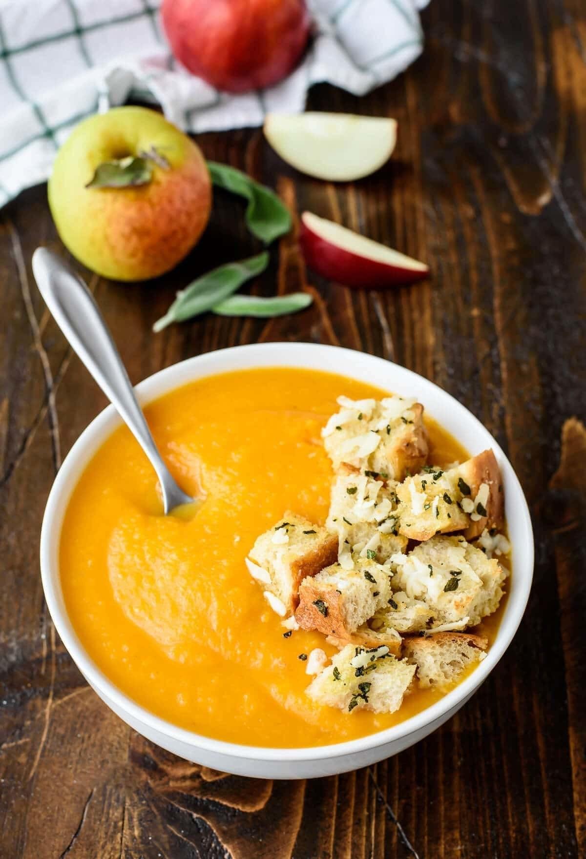 Butternut Squash Apple Soup With Sage Parmesan Croutons