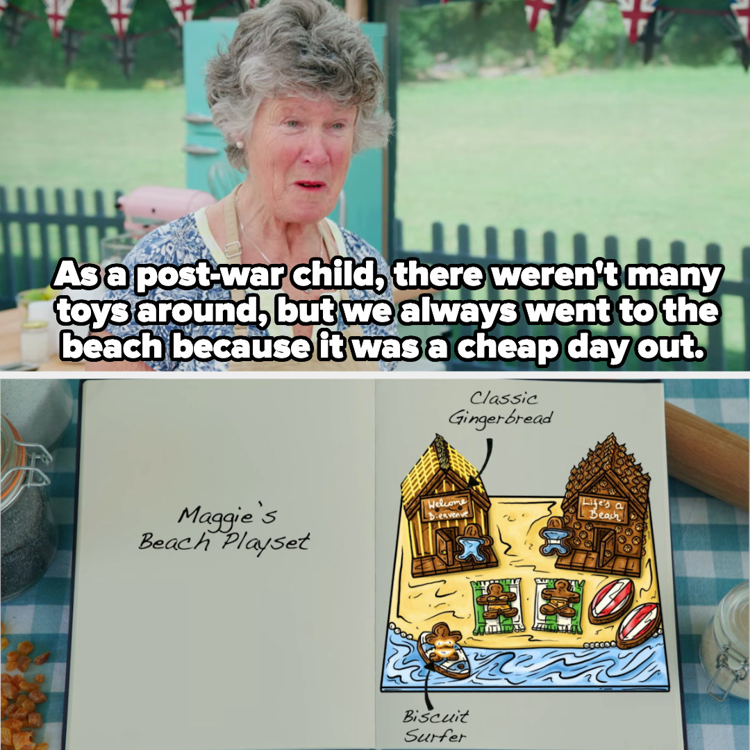 Maggie's beach playset, which she's making because as a post-war child, she didn't have many toys