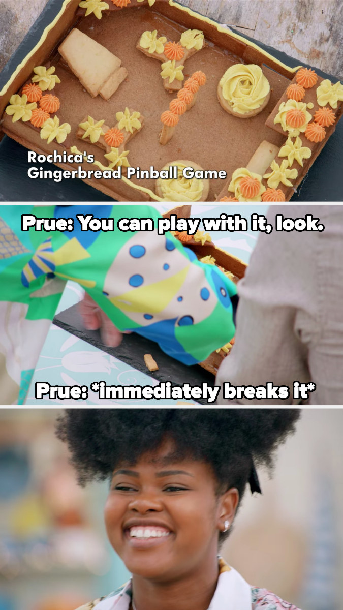 Rochica laughs after Prue breaks her bake