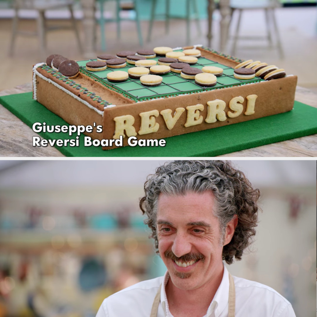 Giuseppe smiles as he presents his precisely made Reversi board game