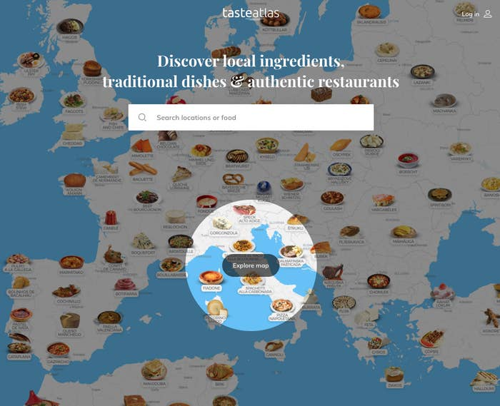 Screenshot of the TasteAtlas website which shows a map of Europe with different food dishes illustrated in different countries