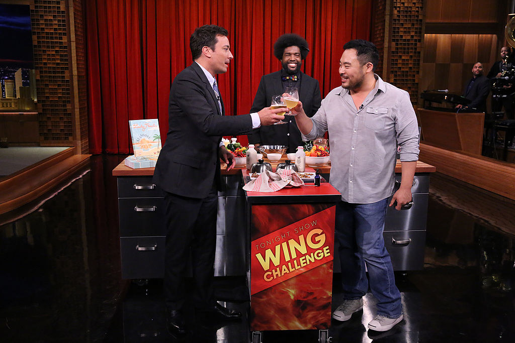 David Chang drinking beer with Jimmy Fallon on his show
