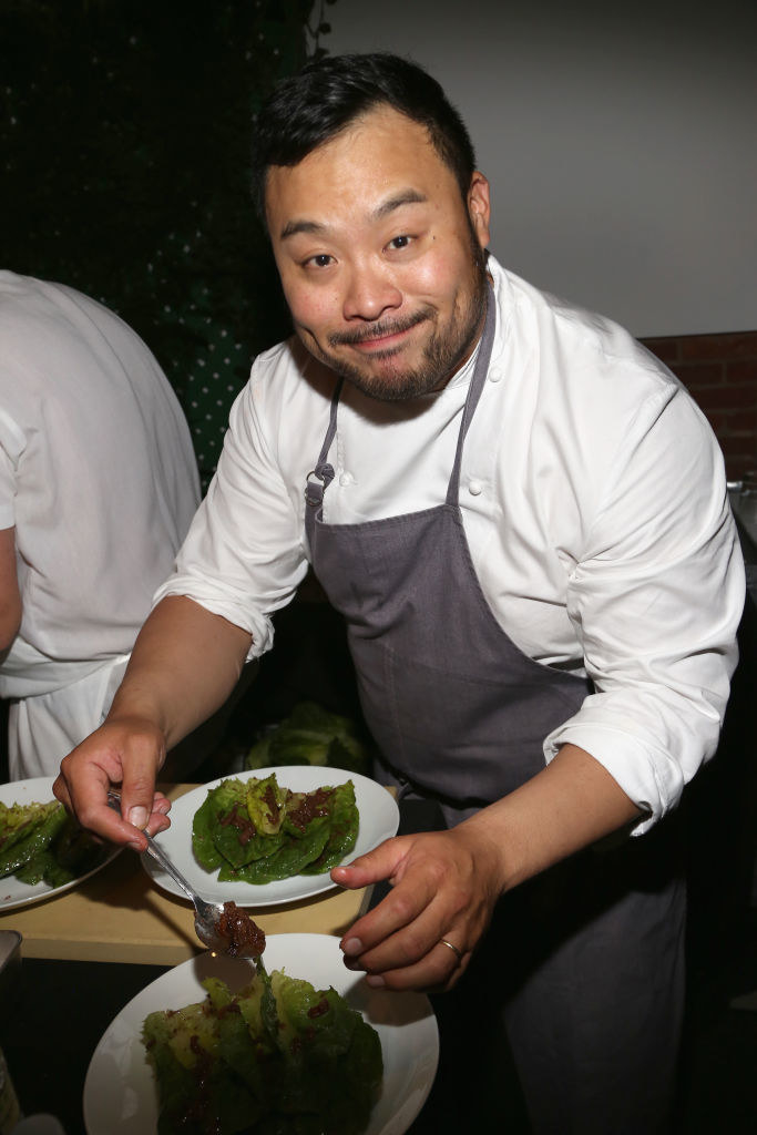 David Chang dressing a salad